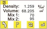 density results display